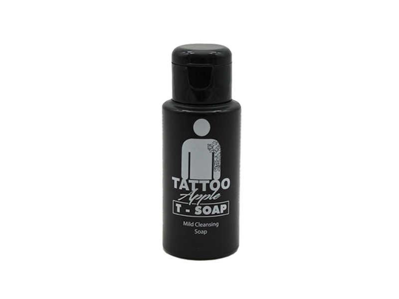 T-Soap è un sapone delicato a PH fisiologico specifico per igienizzare la cute tatuata e a mantenere il tatuaggio nel tempo preservandone i pigmenti colorati.